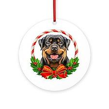 Rottweiler Wreath Ornament (Round)