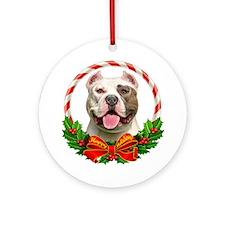 Pit Bull Wreath Ornament (Round)