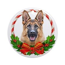German Shepherd Wreath Ornament (Round)