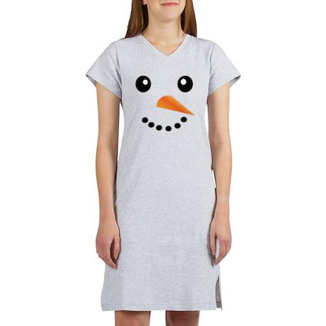 FROSTY SNOWMAN FACE Women's Nightshirt