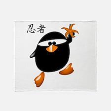 Ninja Penguin Throw Blanket