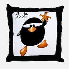 Ninja Penguin Throw Pillow