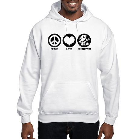 Peace Love Beethoven Hooded Sweatshirt