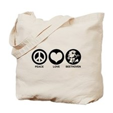 Peace Love Beethoven Tote Bag