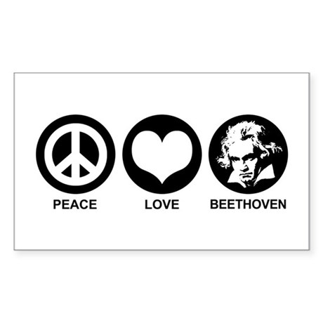Peace Love Beethoven Sticker (Rectangle)
