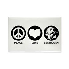 Peace Love Beethoven Rectangle Magnet