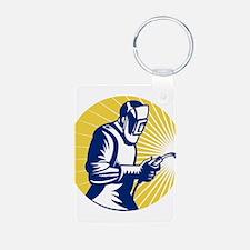 welder welding worker Keychains