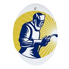 welder welding worker Ornament (Oval)
