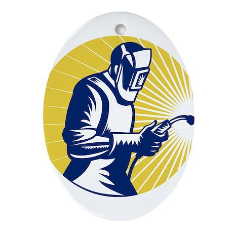 welder welding worker Ornament (Oval)