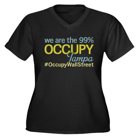 Occupy Tampa Women's Plus Size V-Neck Dark T-Shirt