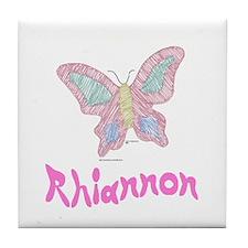 Pink Butterfly Rhiannon Tile Coaster