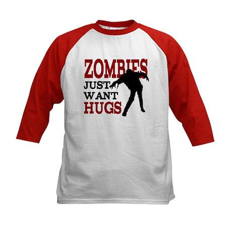 Zombies Just Want Hugs Kids Baseball Jersey