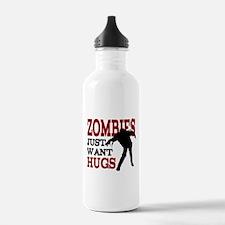 Zombies Just Want Hugs Water Bottle