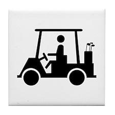 Caution Golf Buggy Sign Tile Coaster