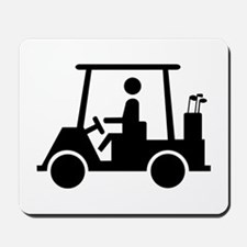 Caution Golf Buggy Sign Mousepad