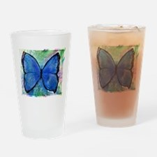 Beautiful, Blue, Butterfly, a Drinking Glass
