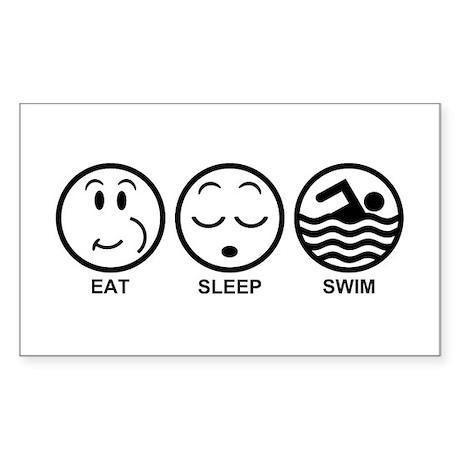 Eat Sleep Swim Sticker (Rectangle)