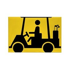 Caution Golf Buggy Sign Rectangle Magnet