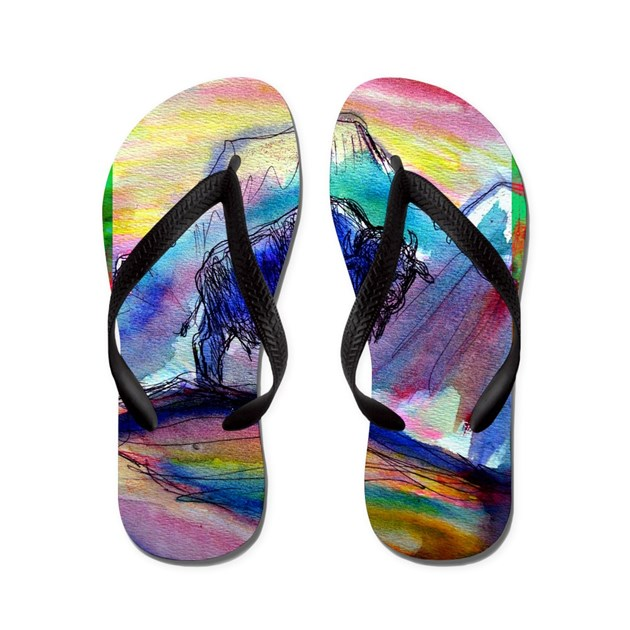 buffalo colorful art flip flops by meowries. Black Bedroom Furniture Sets. Home Design Ideas