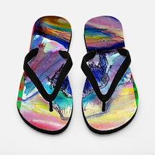 Buffalo, colorful, art, Flip Flops