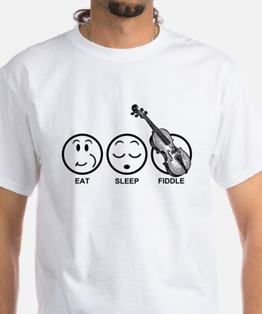 Eat Sleep Fiddle White T-Shirt