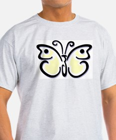 White Butterfly1 Ash Grey T-Shirt