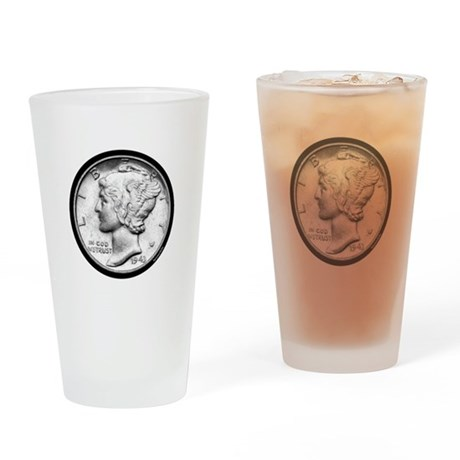 Mercury Dime Drinking Glass