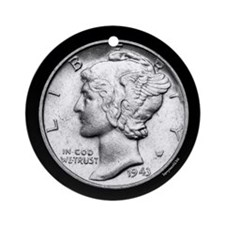 Mercury Dime Ornament (Round)