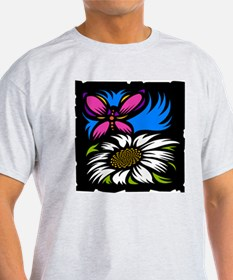 Butterfly and Flower Ash Grey T-Shirt