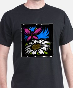 Butterfly and Flower Black T-Shirt