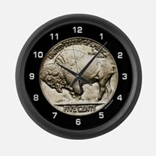 Buffalo Nickel Large Wall Clock