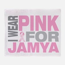 I wear pink for Jamya Throw Blanket
