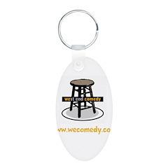 Logo w/ website - yellow text Keychains
