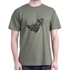 Boston Men's T-Shirt Black on Military Green