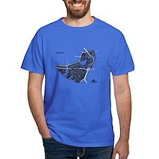 Boston Men's T-Shirt Black on Royal Blue
