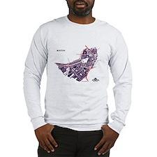 Boston Men's Long Sleeve Shirt Purple on Grey