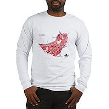 Boston Men's Long Sleeve Shirt Red on Grey