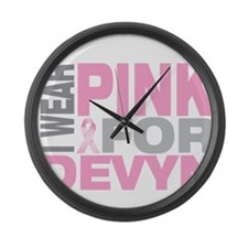 I wear pink for Devyn Large Wall Clock