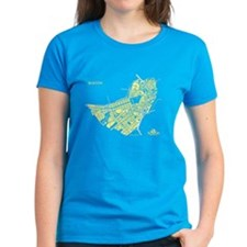 Boston Women's T-Shirt Lemon on Caribbean Blue