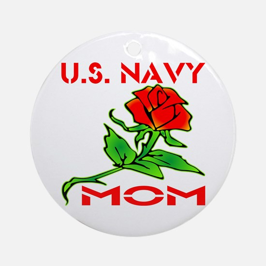 U.S. Navy Mom w/ Rose Ornament (Round)