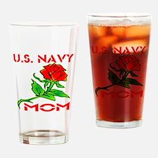 U.S. Navy Mom w/ Rose Drinking Glass
