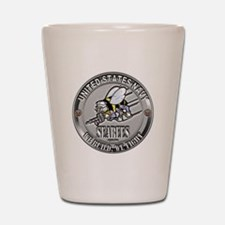 USN Navy Seabees Can Do Metal Shot Glass