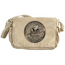 USN Navy Seabees Can Do Metal Messenger Bag