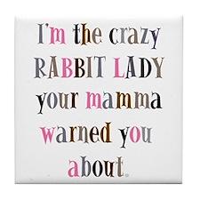 Crazy Rabbit Lady Tile Coaster
