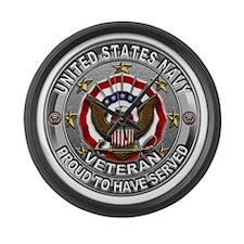 USN Navy Veteran Proud Eagle Large Wall Clock