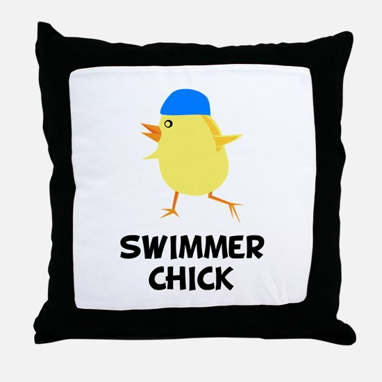 Swimmer Chick Throw Pillow