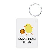 Basketball Chick Aluminum Photo Keychain