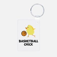 Basketball Chick Aluminum Photo Keychain