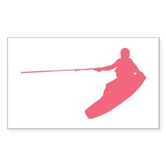 Pink Wakeboard Nose Grab Sticker (Rectangle)