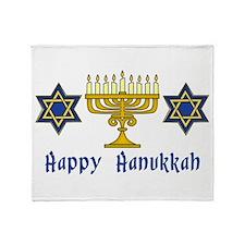 Happy Hanukkah Menorah and St Throw Blanket